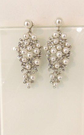 Pearl and Crystal Prom Bridal Earrings by Olivia Divine Jewellery