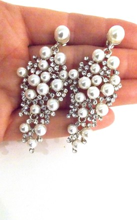Pearl And Crystal Prom Bridal Earrings by Olivia Divine Jewellery Product photo