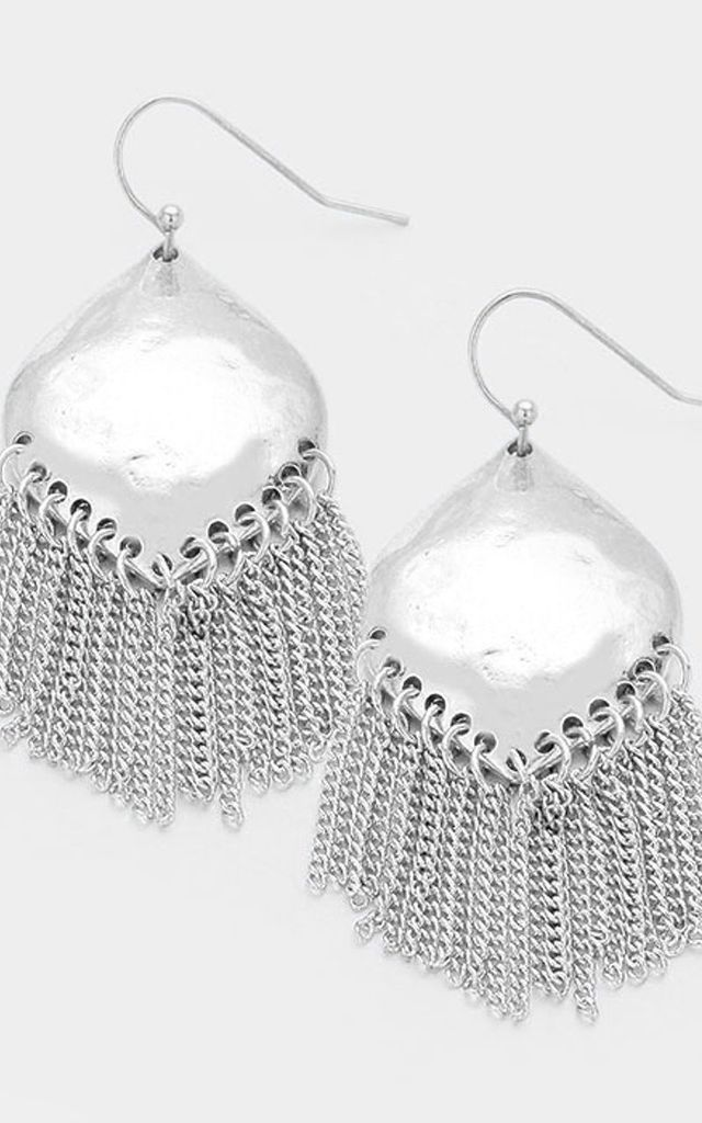 Hammered Style Silver Tassel Earrings by Olivia Divine Jewellery
