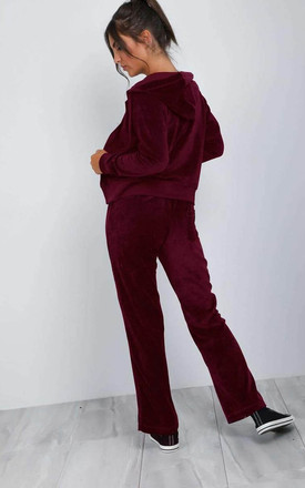 Burgundy Faux Velvet Lounge Wear Tracksuit Set by Oops Fashion