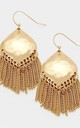 Gold Hammered Style Tassel Earrings by Olivia Divine Jewellery