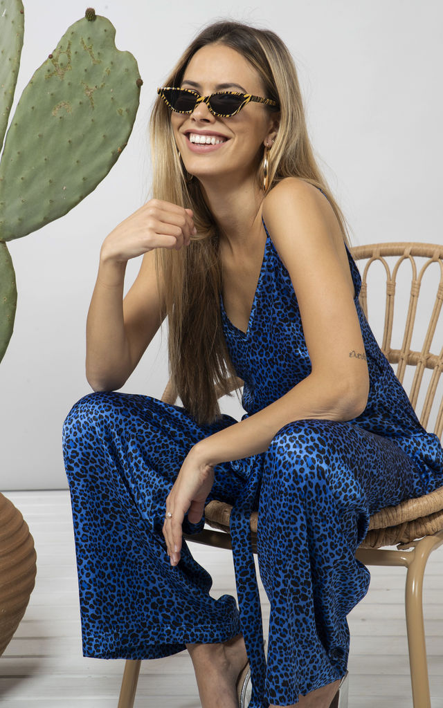 GABRIELLA JUMPSUIT IN BLUE DITZY LEOPARD image