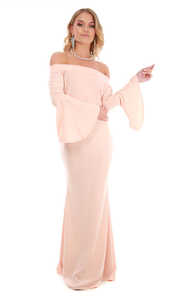 Nude Pink Flare Sleeve Bardot Fishtail Maxi Dress by Oops Fashion