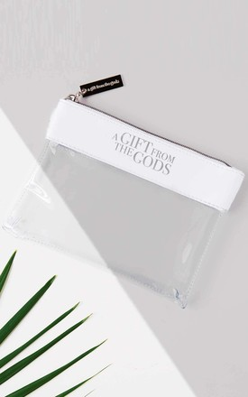 Slogan White Make-up Pouch by A Gift From The Gods