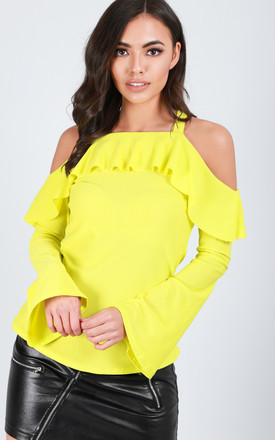 Neon Cold Shoulder Flare Sleeve Frilly Top by Oops Fashion