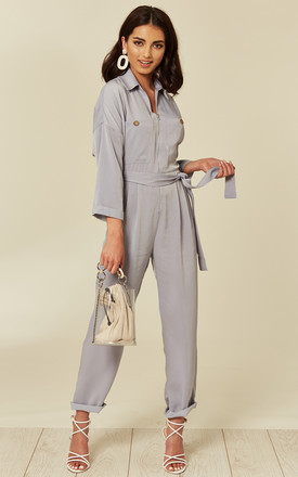 Utility jumpsuit with zip front and tie- Grey by Another Look