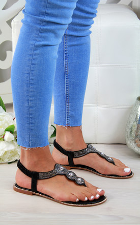 Black Embellished Slingback Flat Sandals by Larena Fashion