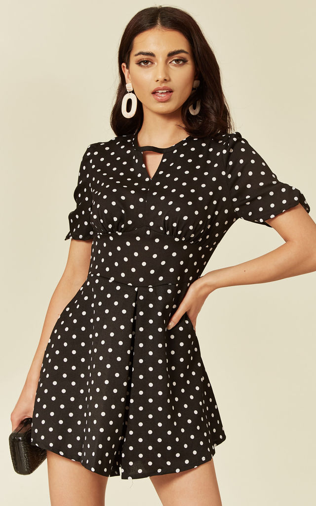Black Playsuit With White Polk-A-Dot by LOVEMYSTYLE