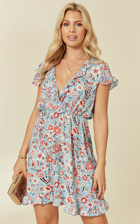 Light Blue Floral Wrap Summer Dress With Gathered Waist by LOVEMYSTYLE