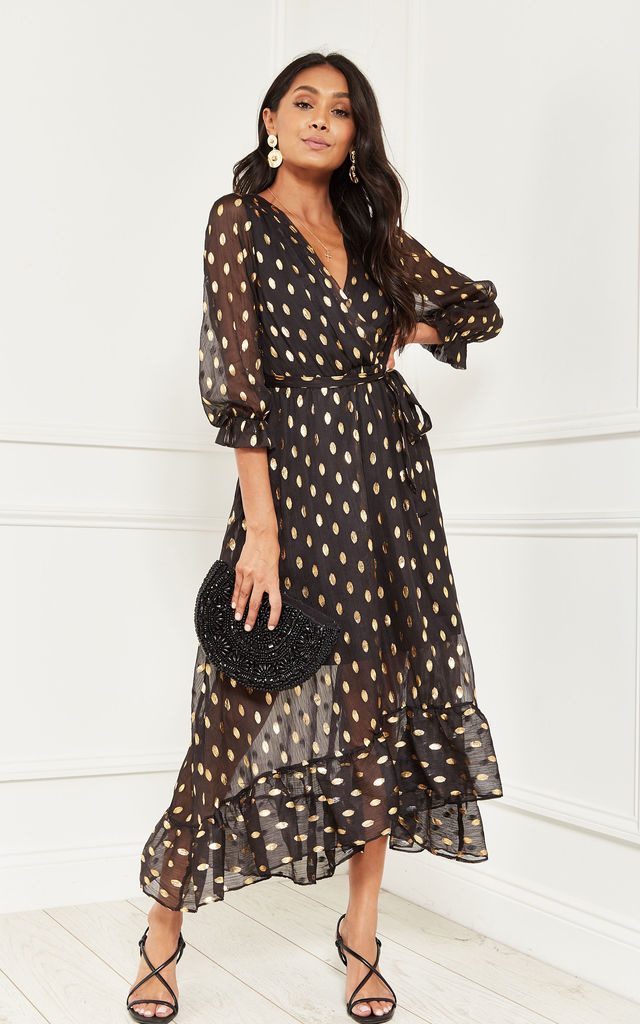 Maxi Wrap Dress in Black with Gold Print by Bella and Blue