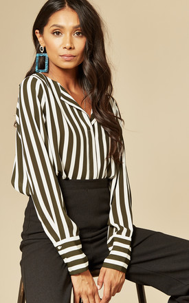 Dynella Collarless Shirt in Black / White Stripe by Selected Femme
