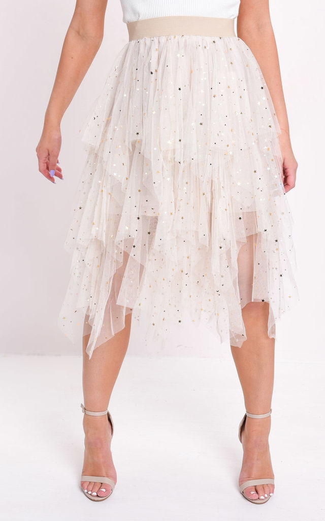 aaf61110642e12 High waisted tiered tulle star sequin skirt beige by LILY LULU FASHION
