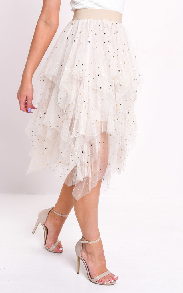 High waisted tiered tulle star sequin skirt beige by LILY LULU FASHION
