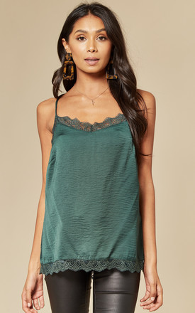 Green Lace Trim Cami Top by VILA