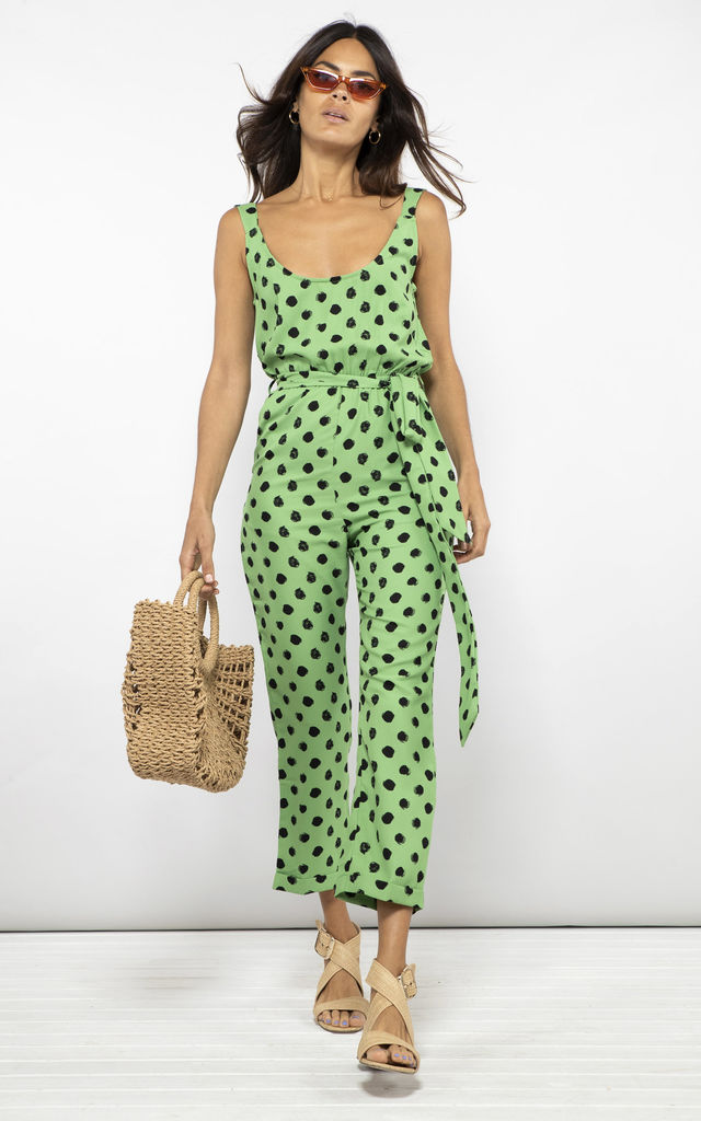 BAILEY JUMPSUIT IN GREEN DOTTY image