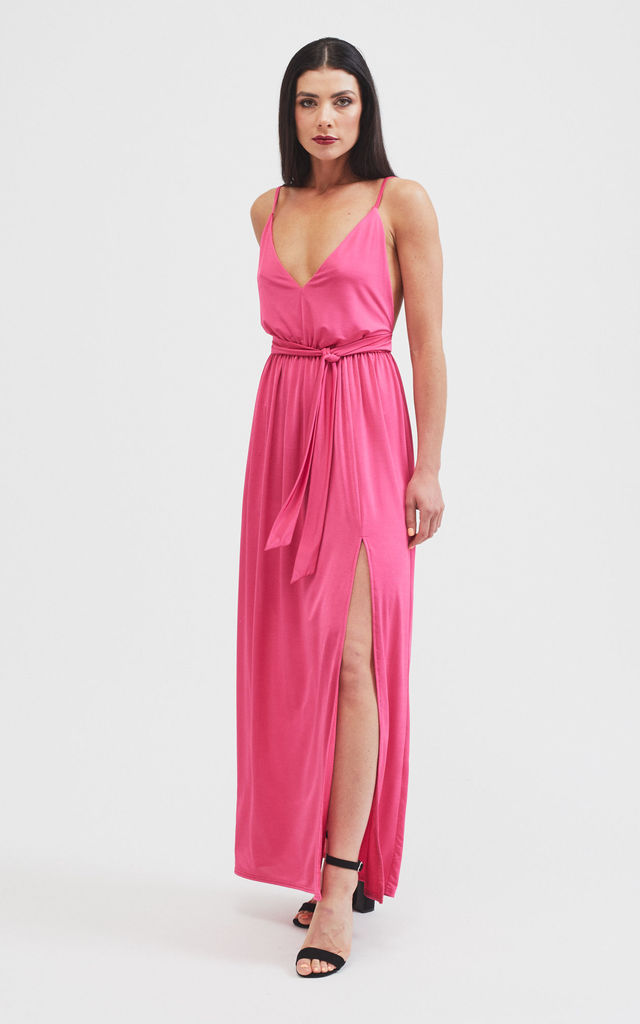 select for authentic for sale fresh styles Laurie Slinky Strappy Maxi Dress In Hot Pink By Belles of London