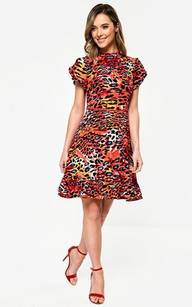 Frill Dress in Red Animal Print by Marc Angelo