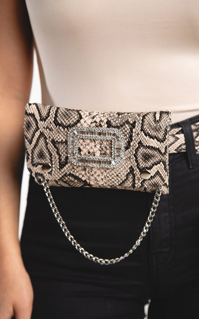 "Waist Bag in Snake Print and Crystal Buckle Detail ""Vipa"" by Storm Label"