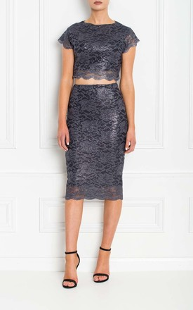 Tayla Grey Silver Metallic Lace Pencil Skirt by Honor Gold