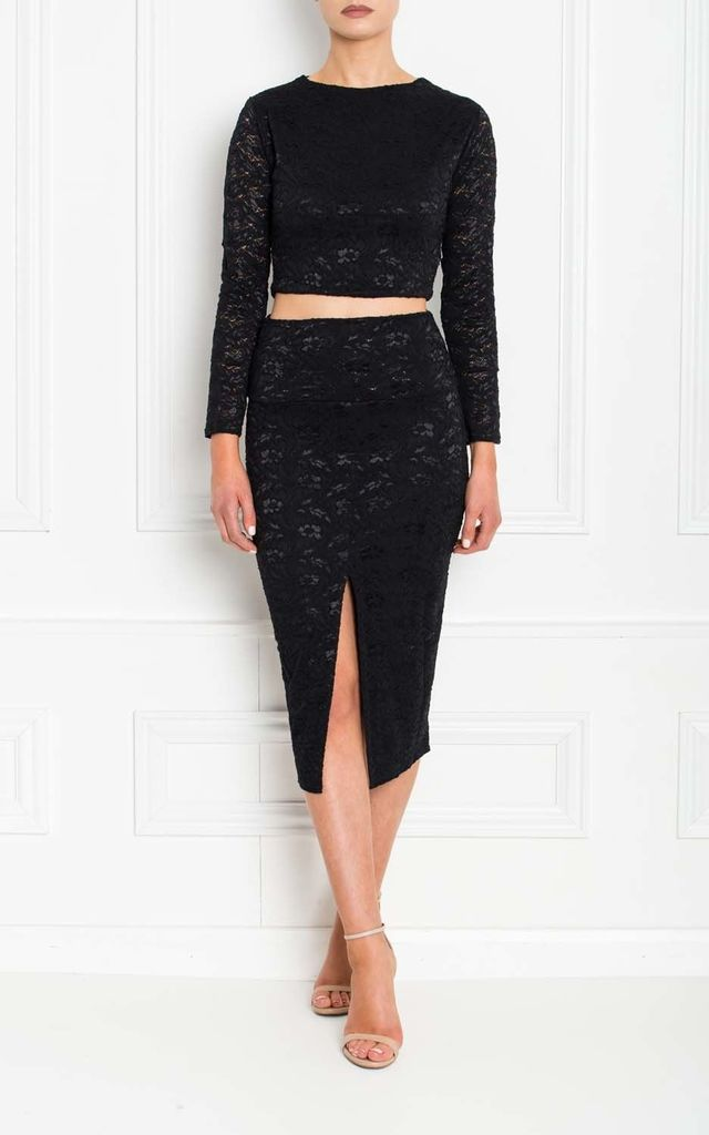 Klara Black Lace Midi Skirt With Front Split by Honor Gold