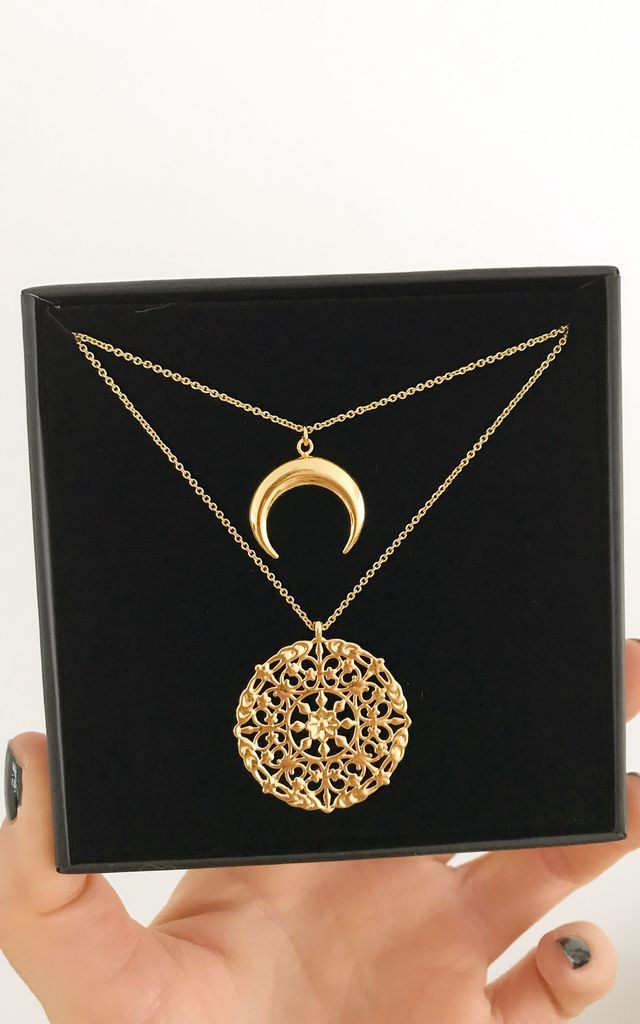 Crescent Moon & Disc Layered Gold Chain Necklaces by Gold Lunar