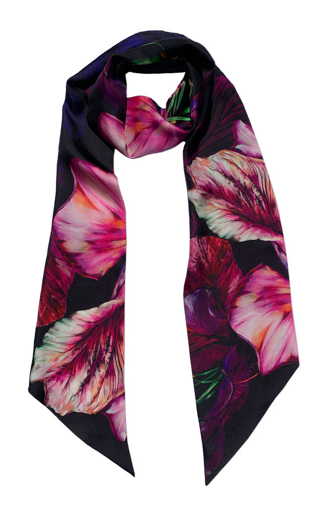 'Ebony Bright' Luxury Skinny Silk Twill Scarf by Leanne Claxton