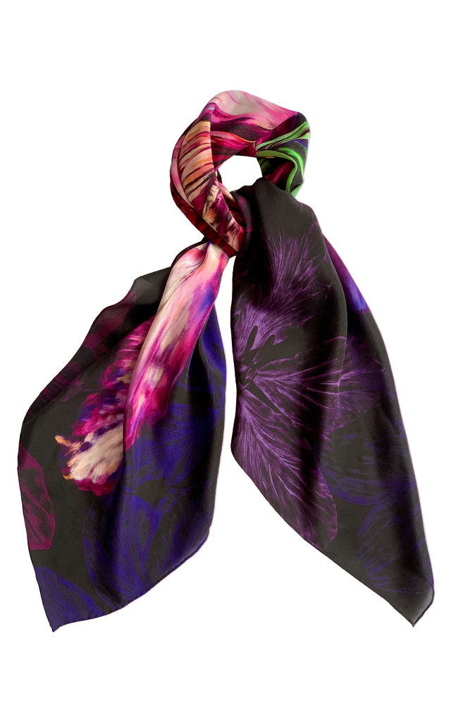 'Ebony Bright' Small Luxury Silk Scarf by Leanne Claxton