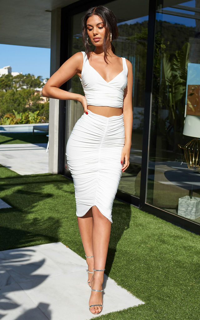 White Ruched Front Bodycon Midi Skirt by Club L London