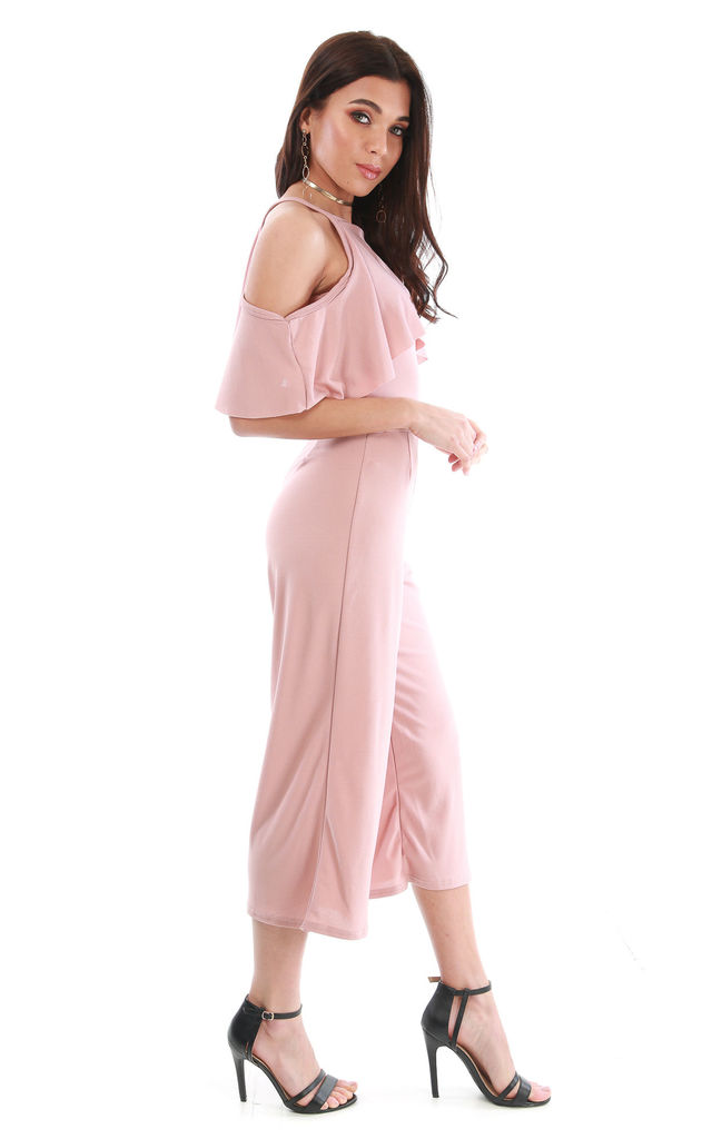 Rose Pink Frilly Cold Shoulder Cropped Leg Jumpsuit by Oops Fashion