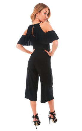 Black Frilly Cold Shoulder Cropped Leg Jumpsuit by Oops Fashion
