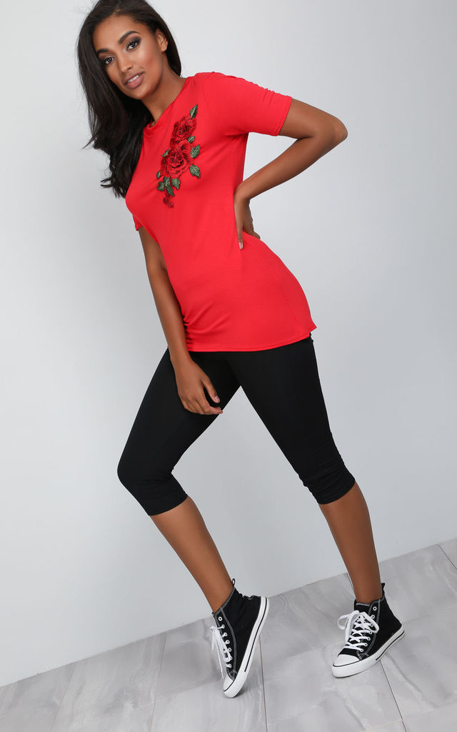 Red Floral Rose Applique Basic Jersey Tshirt by Oops Fashion