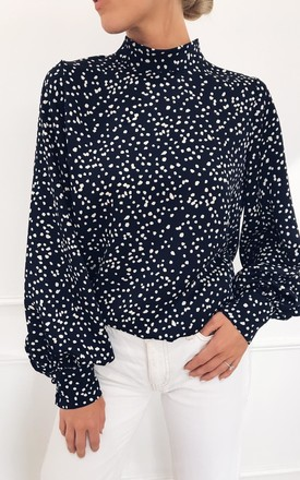 Exclusive Ambre Blouse Navy Spot Print by Pretty Lavish Product photo