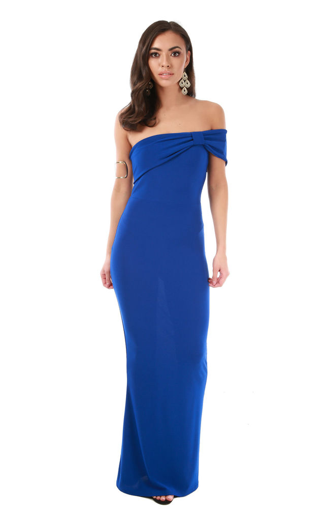 3b91e74528 Royal Blue Bardot Bow One Shoulder Fishtail Maxi Dress | Oops Outlet ...