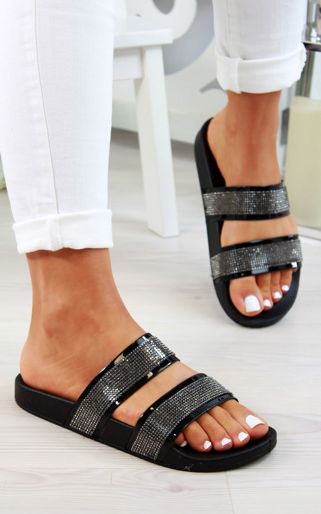 Black Diamante Double Strap Sliders by Larena Fashion