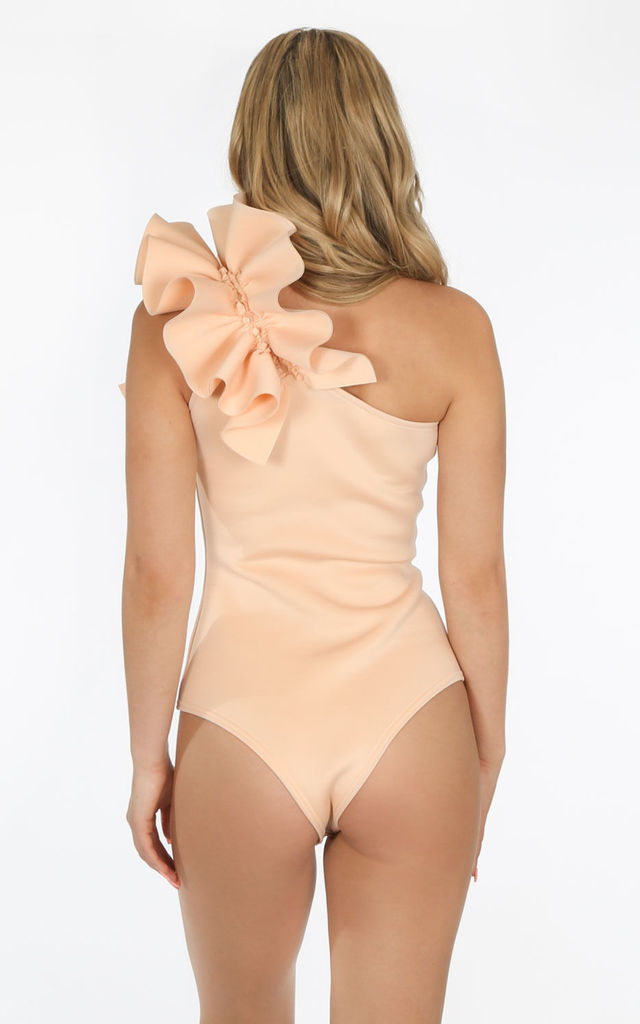 Light Pink One Shoulder Neoprene Bodysuit by Dressed In Lucy