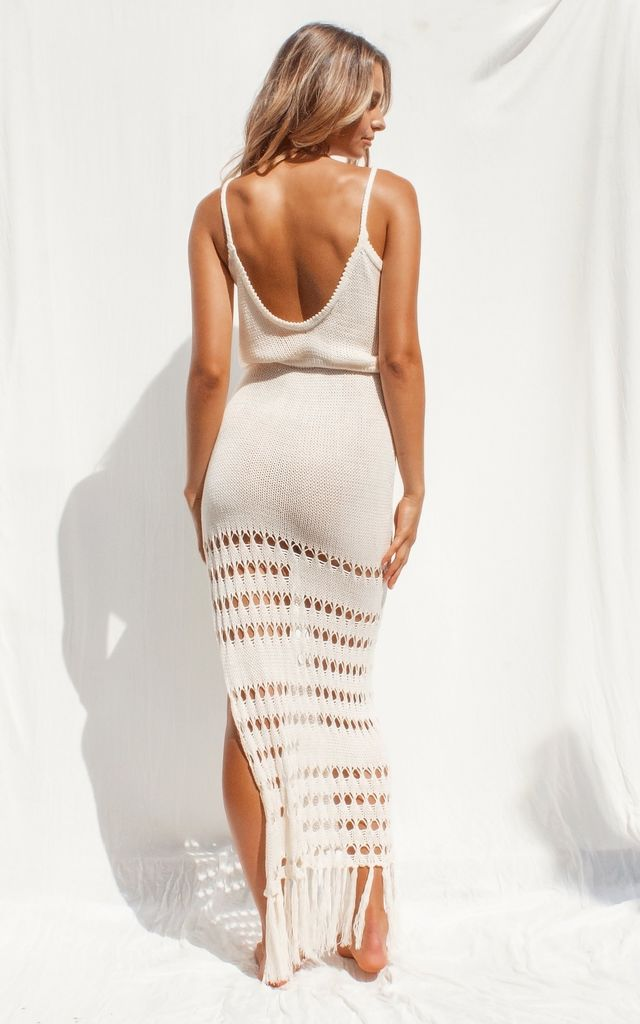 Layanah Knit Plunge Maxi Dress in Nude by FLOOK THE LABEL