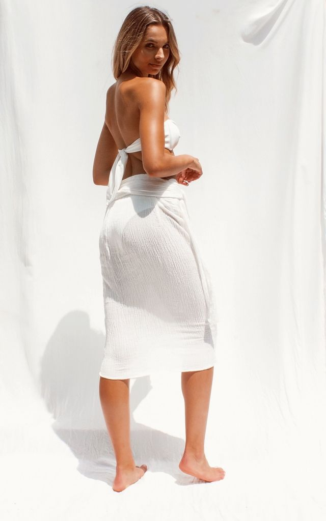Odessa Wrap Midi Skirt in White by FLOOK THE LABEL