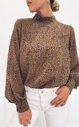 Exclusive Ambre Blouse Brown Dalmatian by Pretty Lavish Product photo