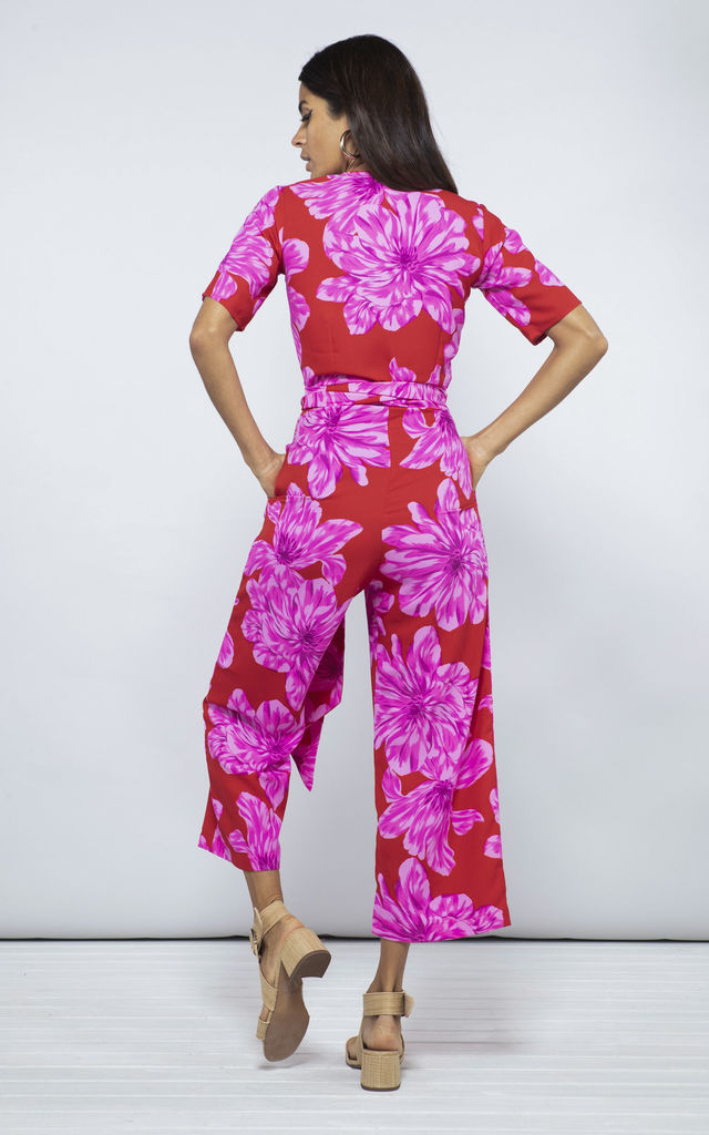 ATLANTIS JUMPSUIT IN PINK ON RED BLOOM by Dancing Leopard