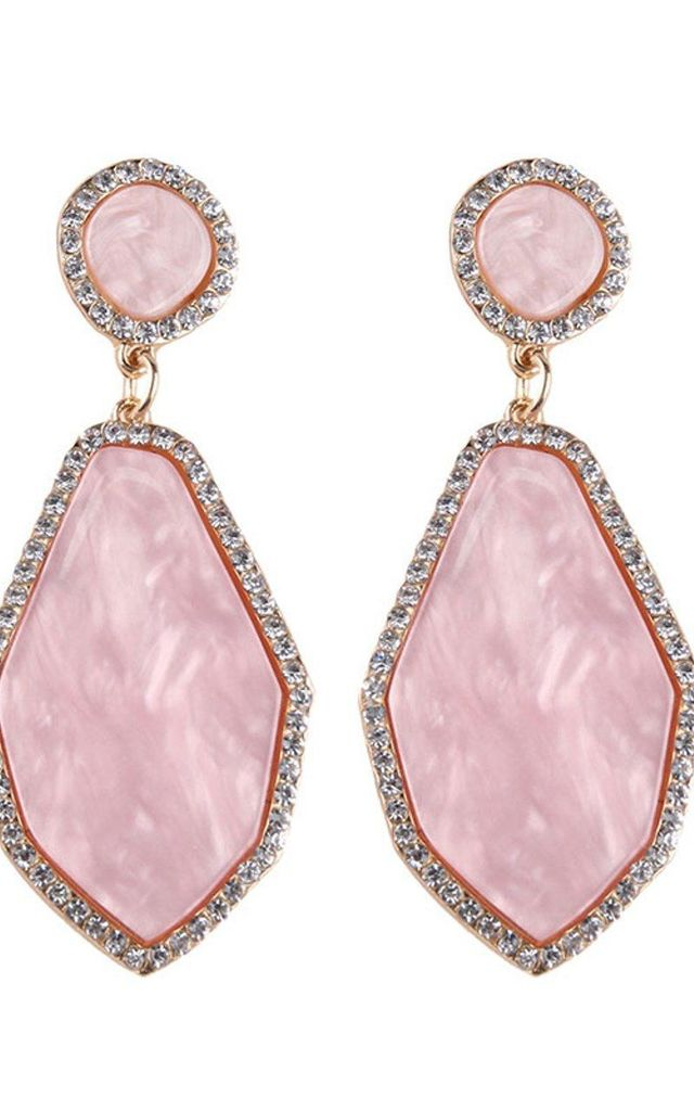 Baby Pink and Crystal Resin Earrings by Olivia Divine Jewellery