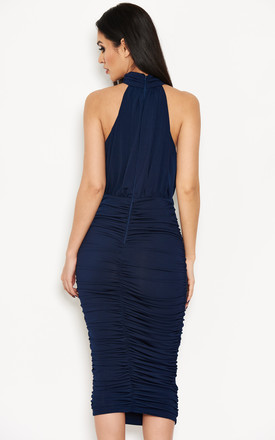 Navy High Neck Ruched Dress by AX Paris