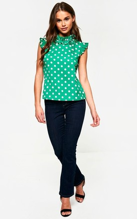 Polka Dot Frill Top in Green by Marc Angelo