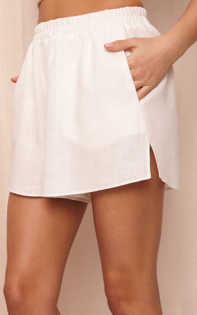 ROMA OVERSIZED SHIRT AND SHORTS CO-ORD SET in WHITE LINEN by Cheeky's