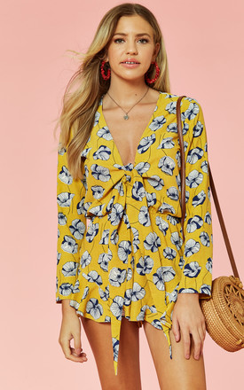 Tie Front Long Sleeve Playsuit In Yellow Print by Glamorous Product photo