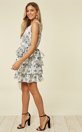 Tiered Floral Mini Dress in White by UNIQUE21