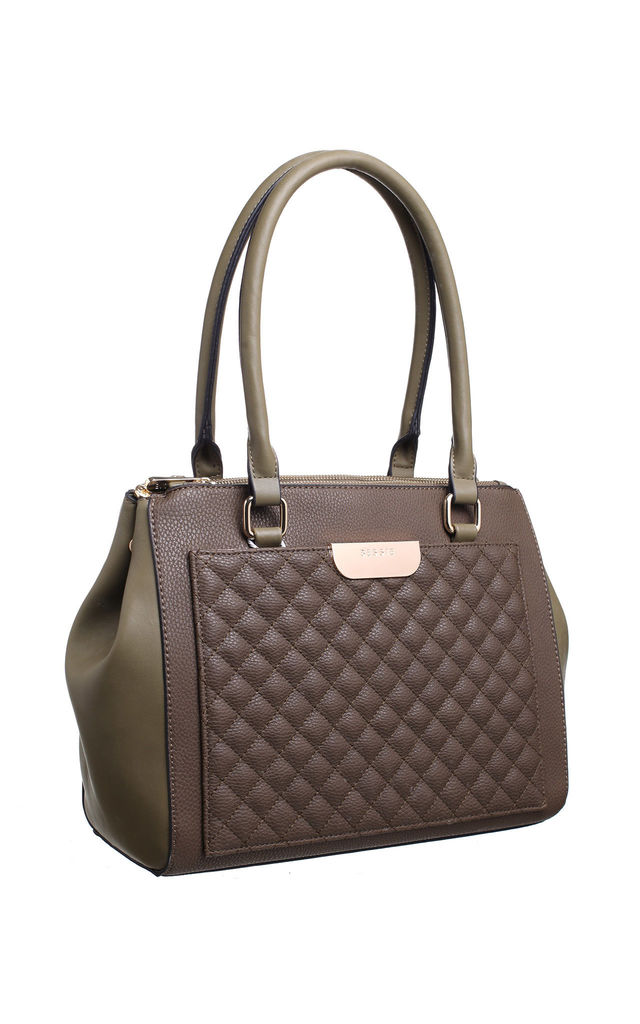 QUILTED MULTI COMPARTMENT SHOULDER BAG KHAKI by BESSIE LONDON