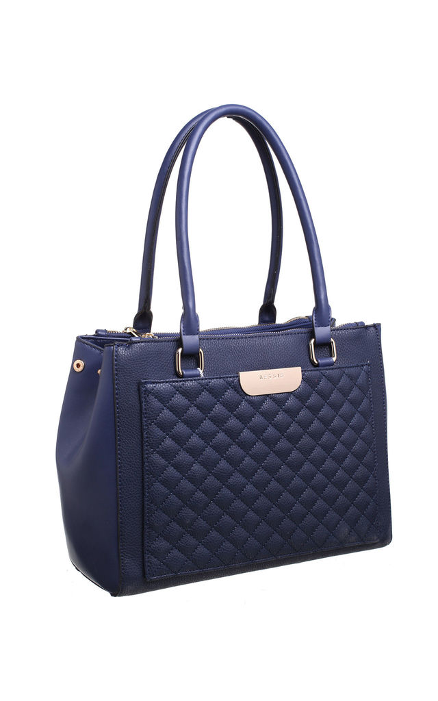 QUILTED MULTI COMPARTMENT SHOULDER BAG BLUE by BESSIE LONDON