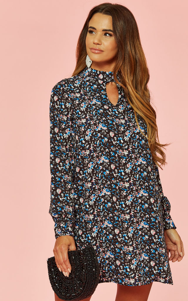 Floral Mini Choker Dress with Long Sleeves by Glamorous