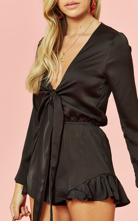Black Tie Front Long Sleeve Playsuit by Glamorous