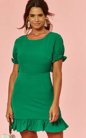 Ruffle Detail Tie Back Dress Green by Glamorous Product photo